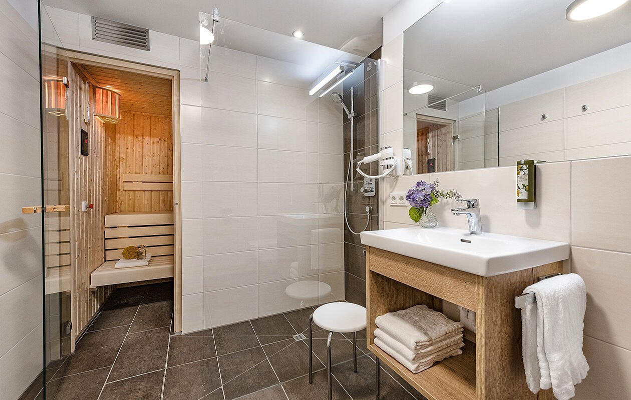 Badezimmer mit eigener Sauna