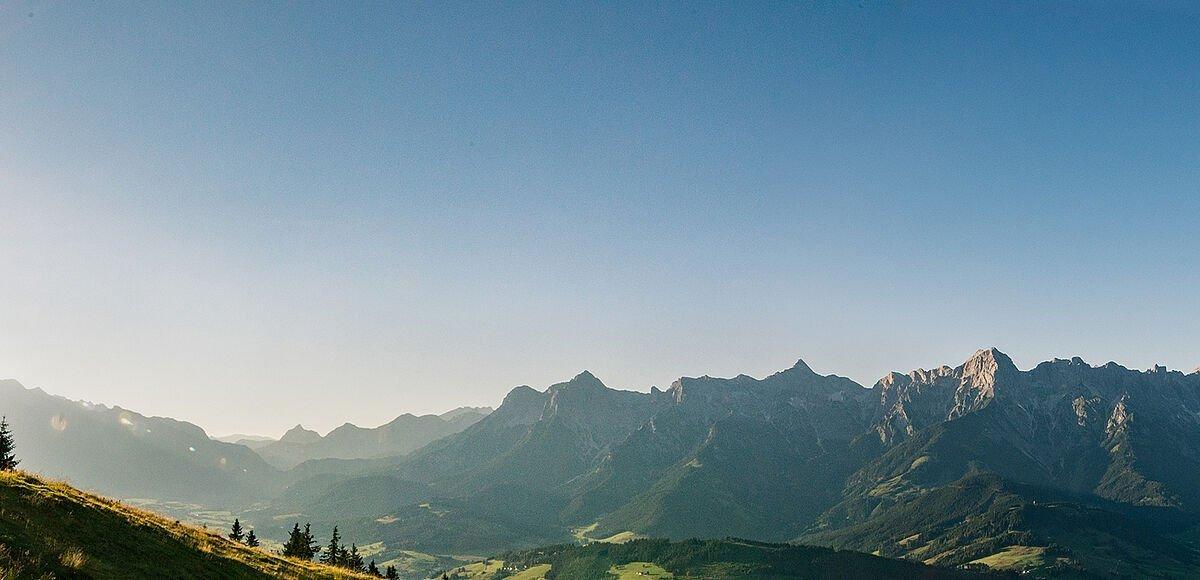 Grüne Wiese mit einer Berglandschaft im Hintergrund