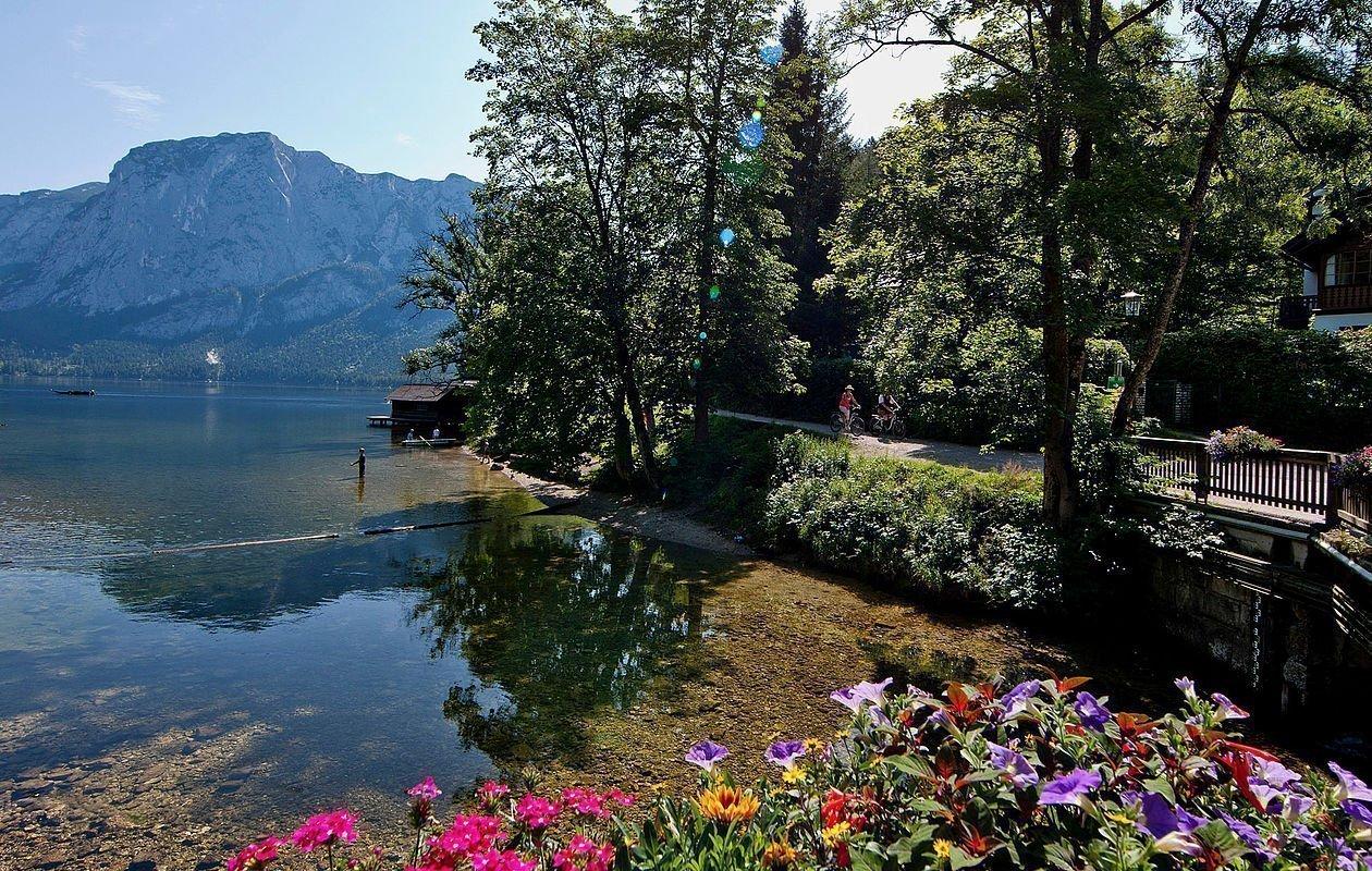 Bunte Frühlingsblumen am Steg vom glasklaren See in der Nähe von Altaussee
